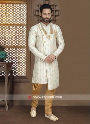 Brocade Silk Fabric Mens Indo Western