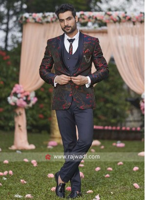 brocade silk fabric printed suit