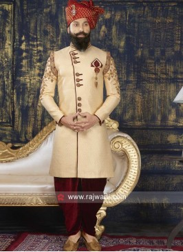 Brocade Silk Fabric Sherwani For Mens