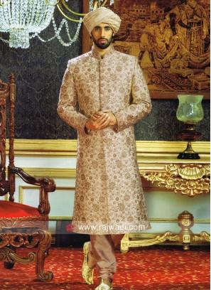 Brocade Silk Fabric Sherwani For Wedding