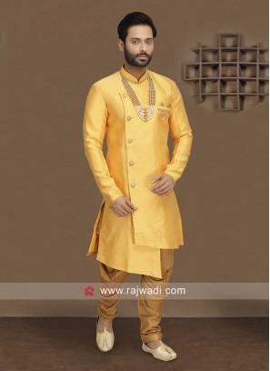 Brocade Silk Fabric Yellow Indo Western