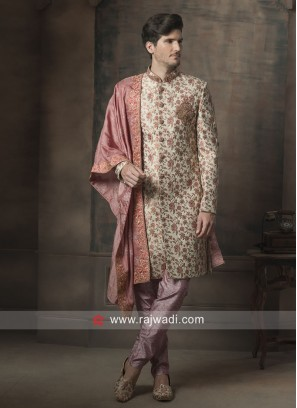 Brocade Silk Flower Print Sherwani With Stylish Dupatta