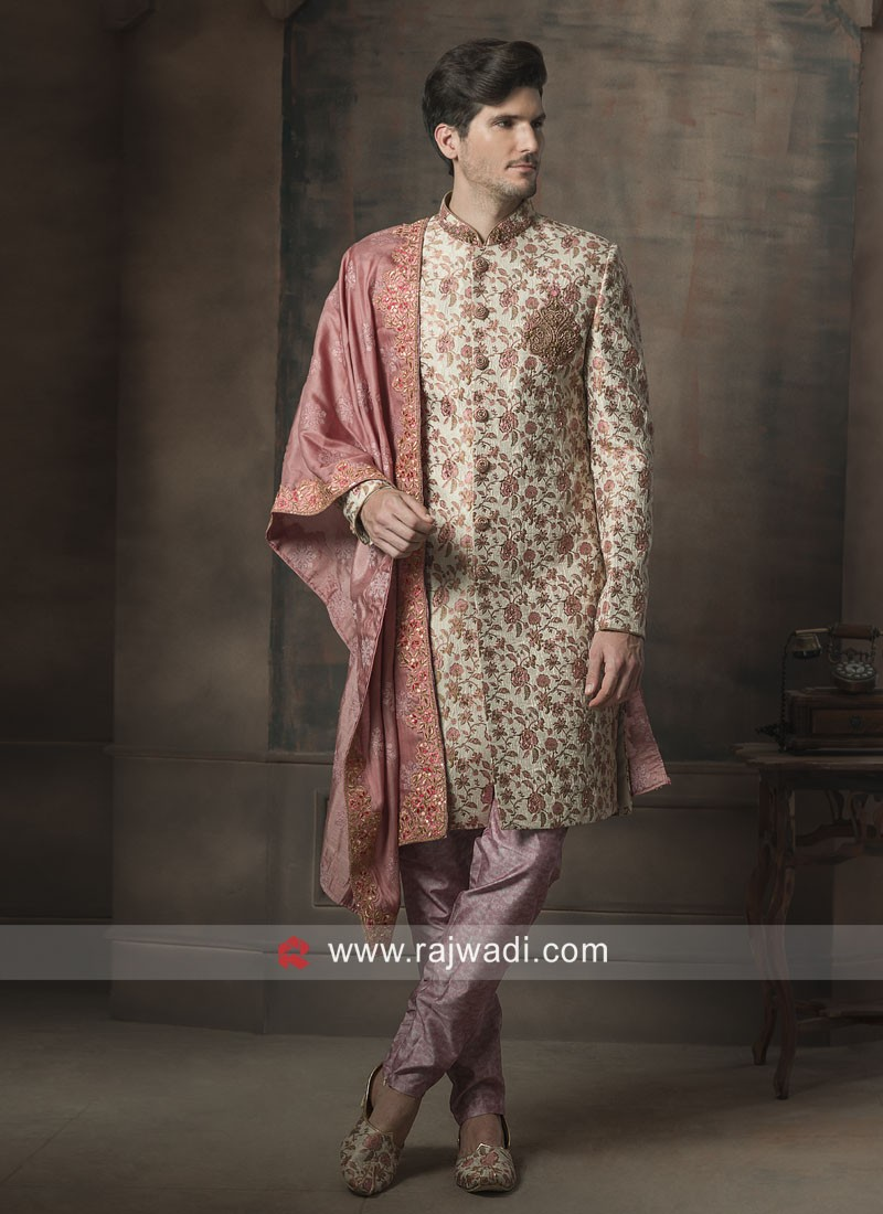 Brocade Silk Flower Print Sherwani With Stylish Dupatta