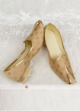 Brocade Silk Golden Color Mojari For Dulha
