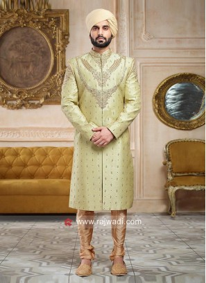 Pista Green Color Sherwani For Wedding