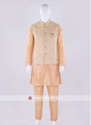 Brocade silk golden nehru jacket