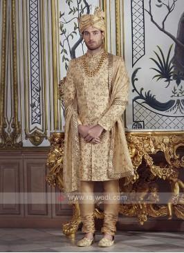 Brocade Silk Golden Sherwani