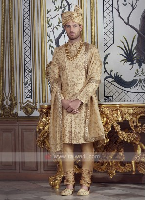 Brocade Silk Golden Sherwani
