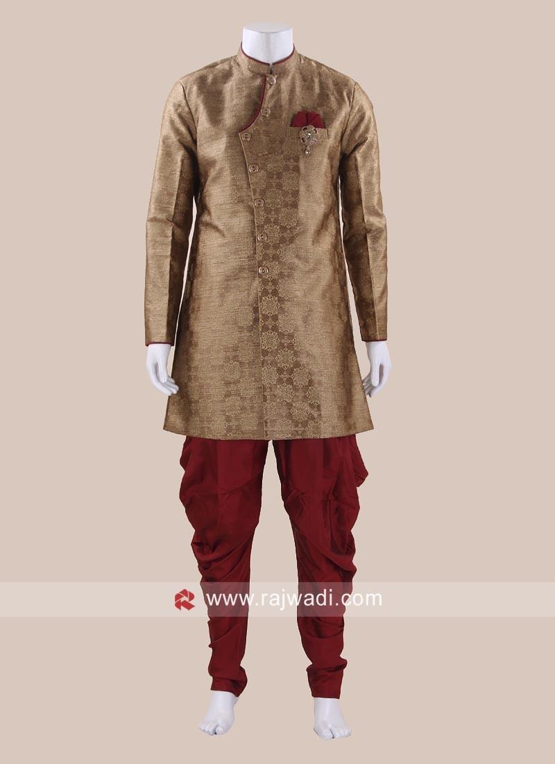Brocade Silk Goldenrod Indo Western