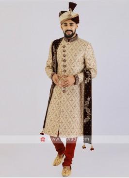 Brocade Silk Groom Sherwani