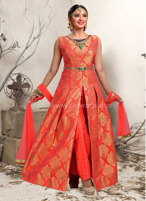 Brocade Silk Handloom Work Trouser Suit