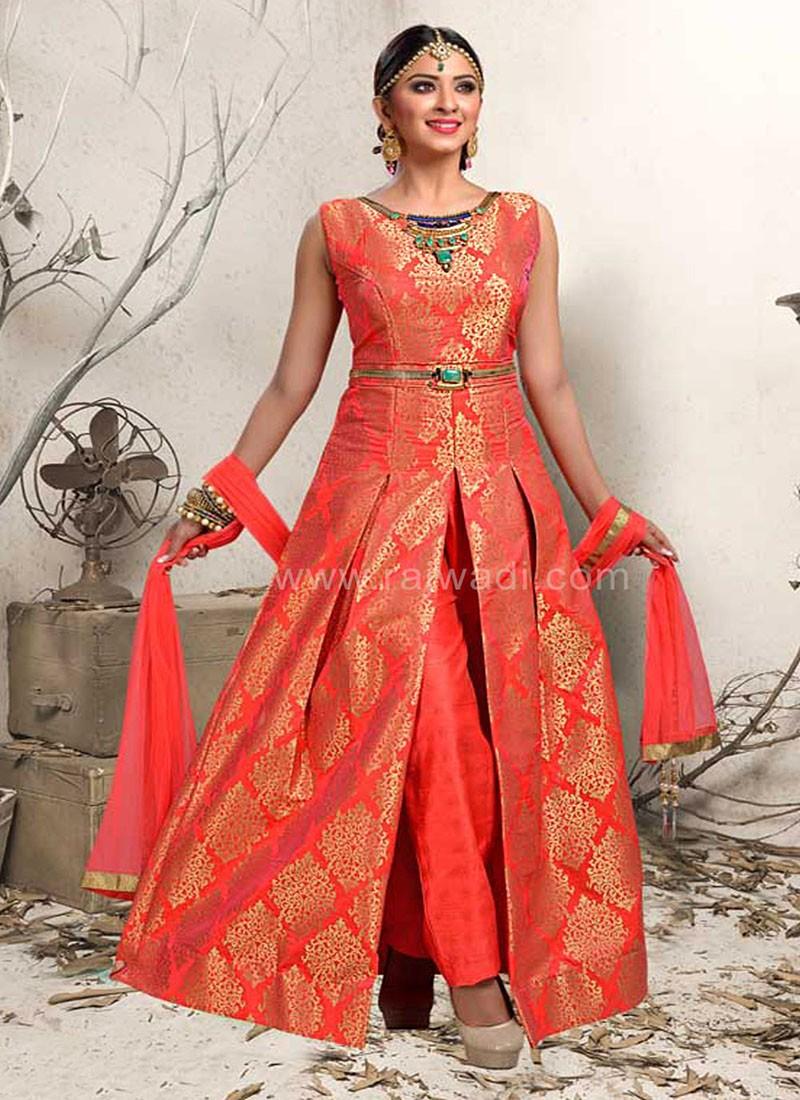 Brocade Silk Handloom Work Trouser Suit
