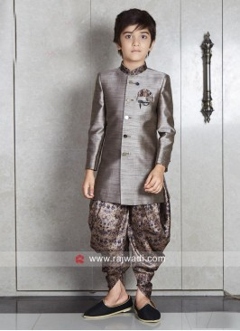 Art Silk Dim Grey Kids Indo Western