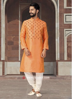 Silk Orange Color Kurta pajama