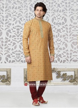 Brocade Silk Light Orange Kurta pajama