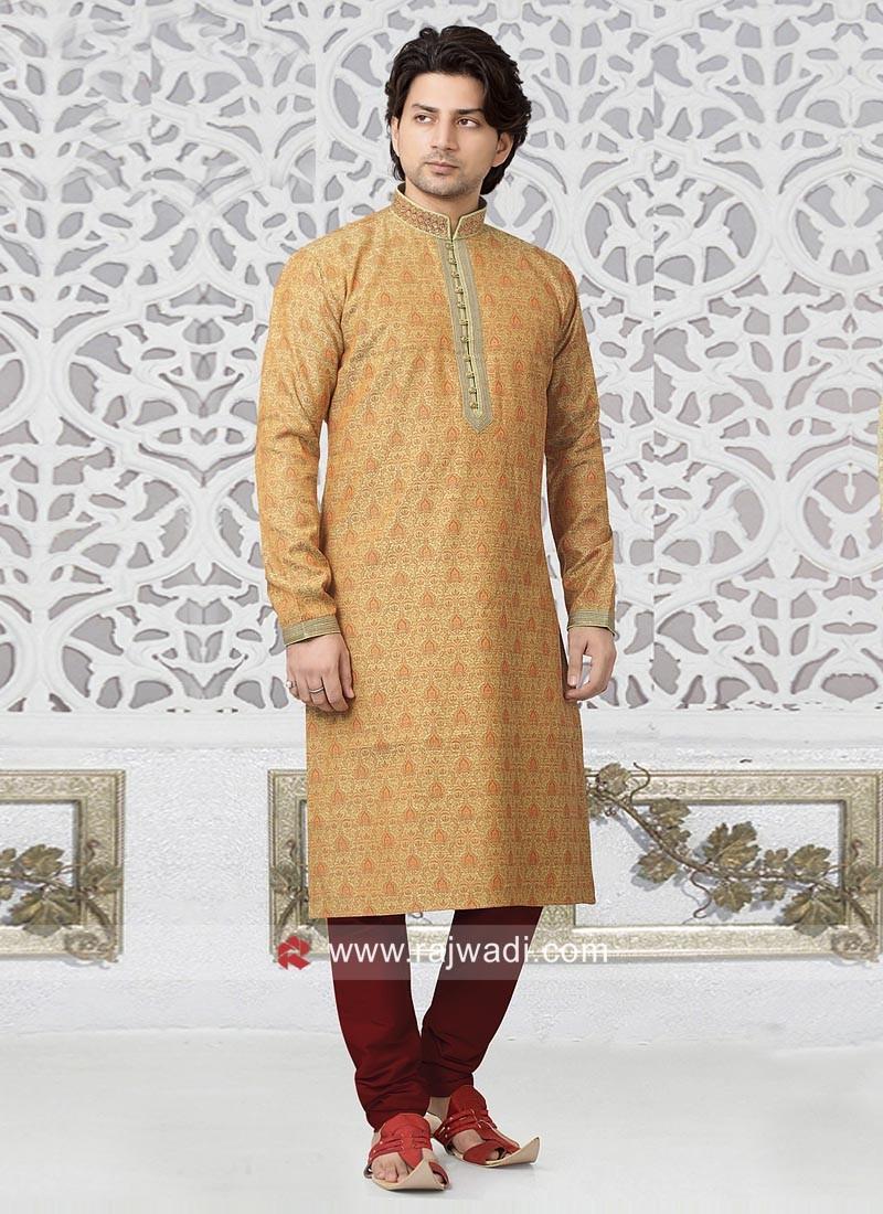 Brocade Silk Light Orange Kurta pajama