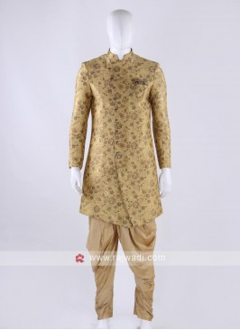 Brocade silk indo-western in golden color