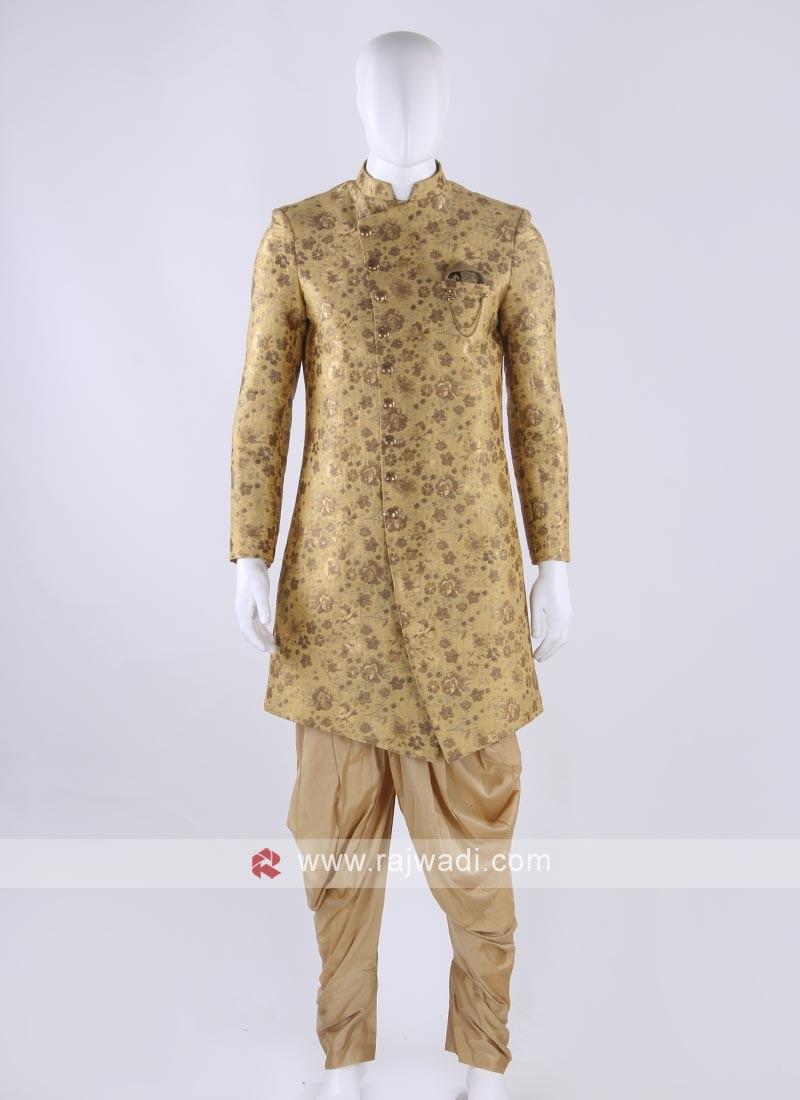 Brocade silk indo-western in golden color