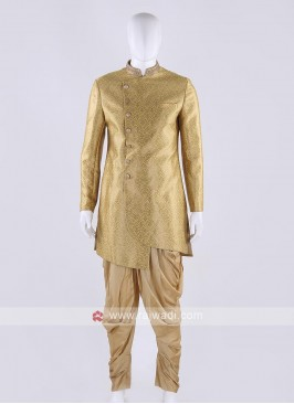 Brocade silk indo-western in golden yellow color