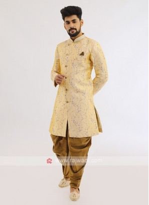 Brocade Silk Indo Western In Lemon Yellow