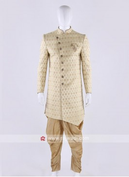 Brocade silk indo-western in light pista color