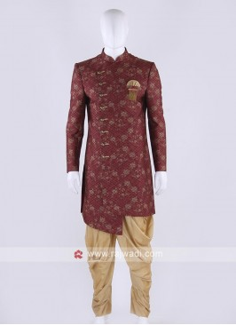 Brocade silk indo-western in maroon color