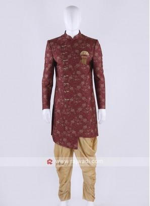 Brocade silk indo-western in maroon color