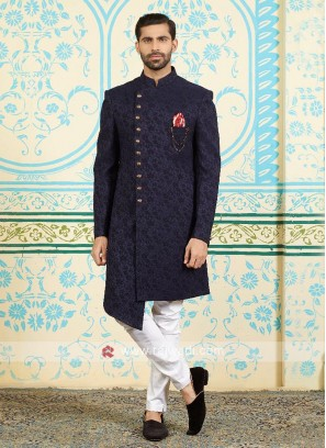 Brocade silk indo-western in navy blue