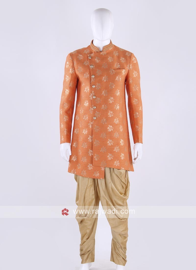 Brocade silk indo-western in orange color