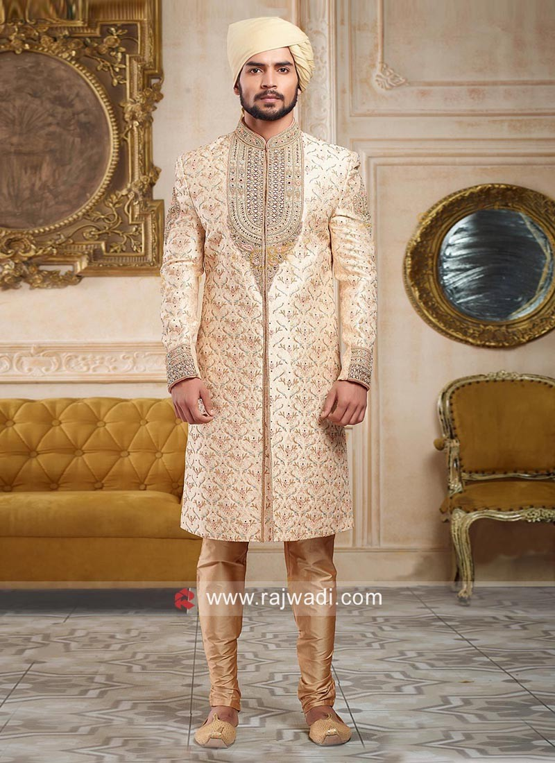 Golden Zardozi Work Sherwani