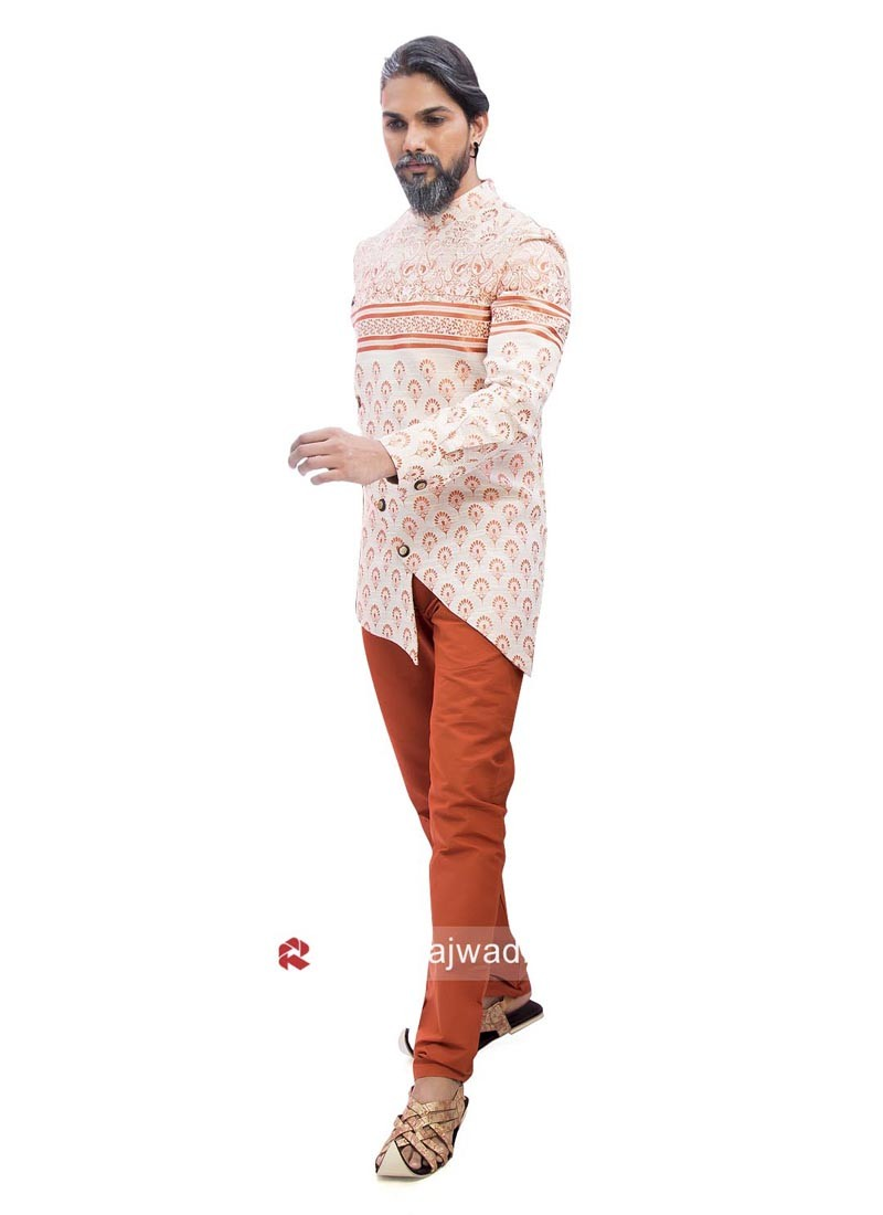 Linen Indo Western With Orange Bottom