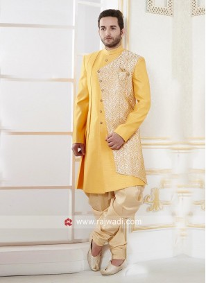 Yellow Color Indo Western With Golden Patiala