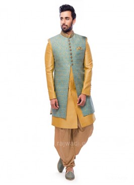 Brocade Silk Indo Western With Golden Patiala