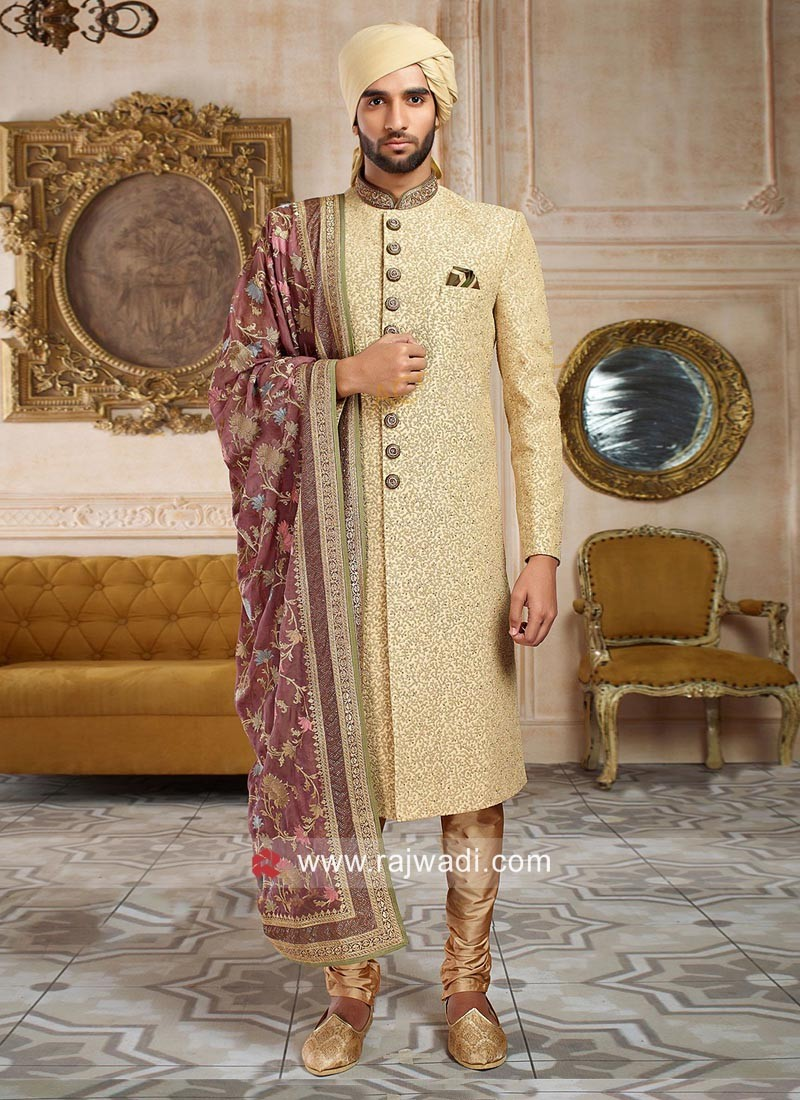Groom Golden Sherwani With Designer Dupatta