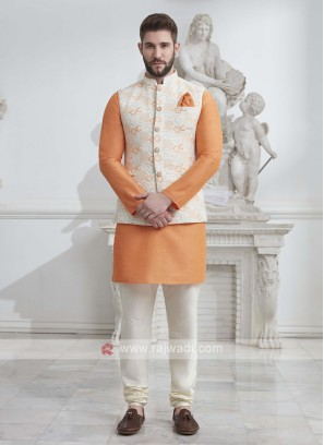 Brocade Silk Nehru Jacket Suit