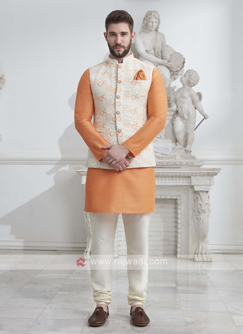 Brocade Silk Nehru Jacket Suit