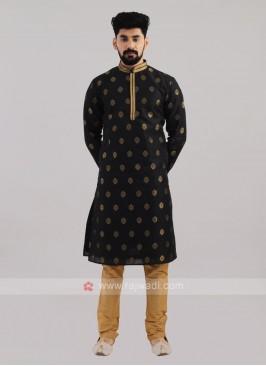 Brocade Silk Kurta Pajama In Black