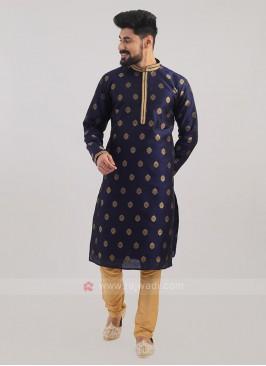 Brocade Silk Kurta Pajama In Blue