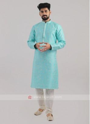 Brocade Silk Kurta Pajama In Firozi