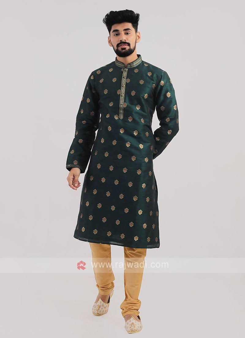 Brocade Silk Kurta Pajama In Green