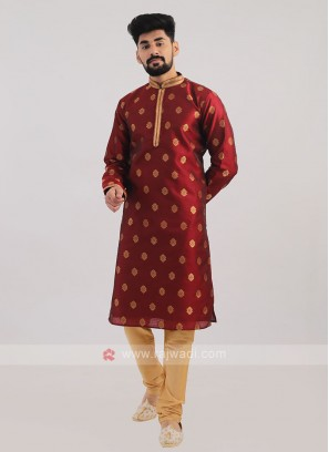 Brocade Silk Kurta Pajama In Maroon