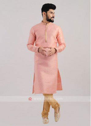 Brocade Silk Kurta Pajama In Pink