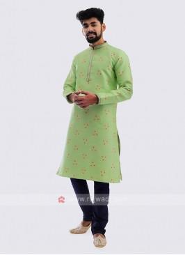 Brocade Silk Kurta Pajama In Pista Green