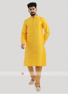 Brocade Silk Kurta Pajama In Yellow