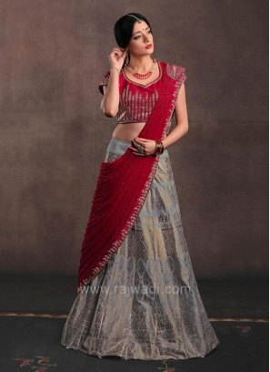 Brocade Silk Lehenga Set with Attached Pleated Dupatta