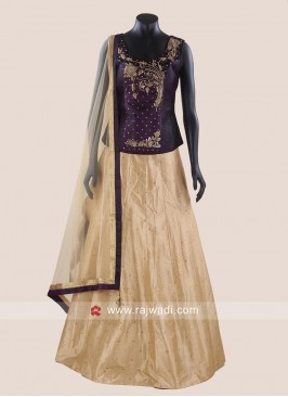 Brocade Silk Lehenga with Contrast Crop Top
