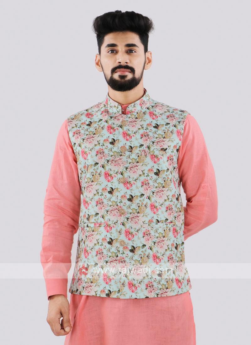 Brocade Silk Light Pista Nehru Jacket