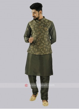 Brocade Silk Mehndi Green Nehru Jacket
