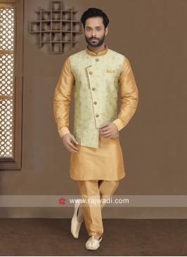 Brocade Silk Nehru Jacket for Party