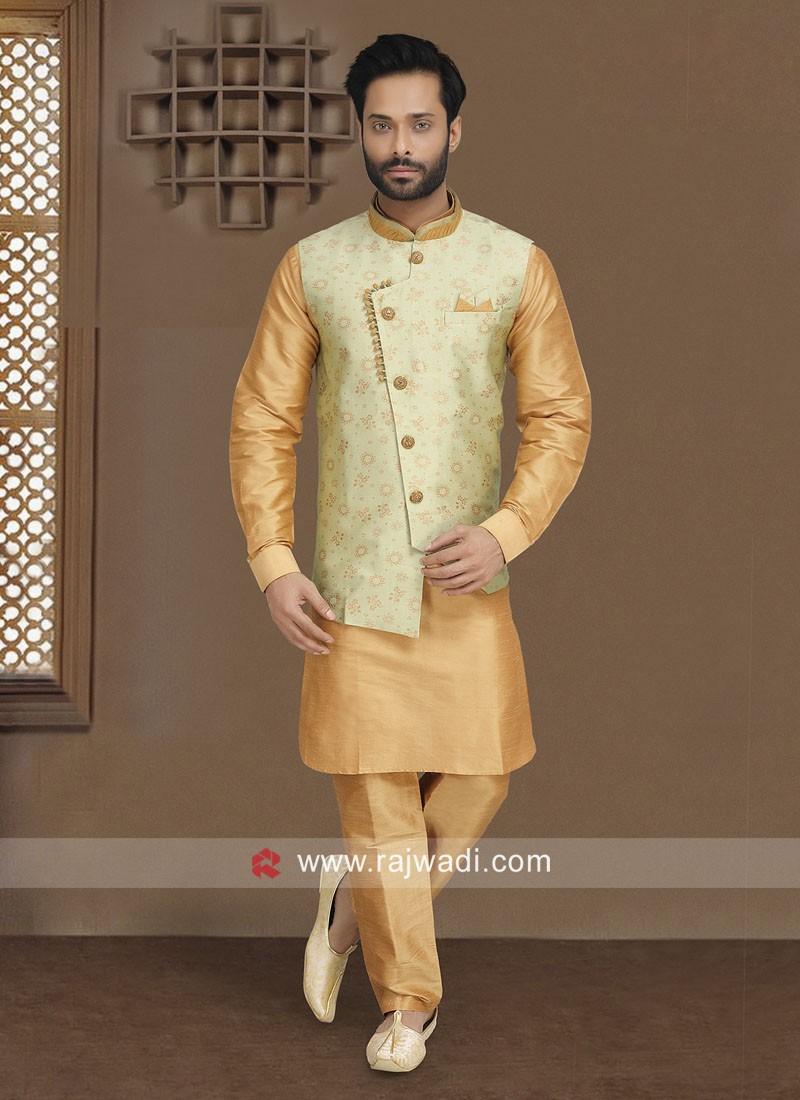 Brocade Silk Nehru Jacket for Party